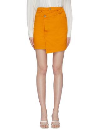 Main View - Click To Enlarge - C/MEO COLLECTIVE - 'Regardless' asymmetric mock wrap denim skirt