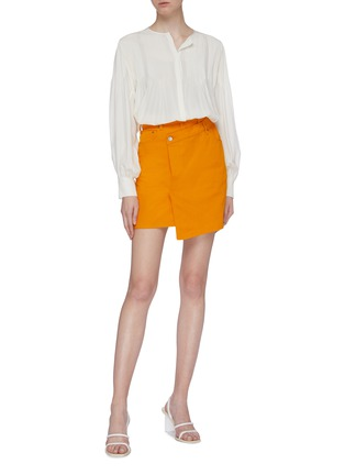 Figure View - Click To Enlarge - C/MEO COLLECTIVE - 'Regardless' asymmetric mock wrap denim skirt