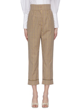 Main View - Click To Enlarge - C/MEO COLLECTIVE - 'Viewpoint' roll cuff check plaid twill pants