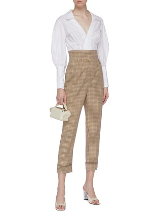 Figure View - Click To Enlarge - C/MEO COLLECTIVE - 'Viewpoint' roll cuff check plaid twill pants
