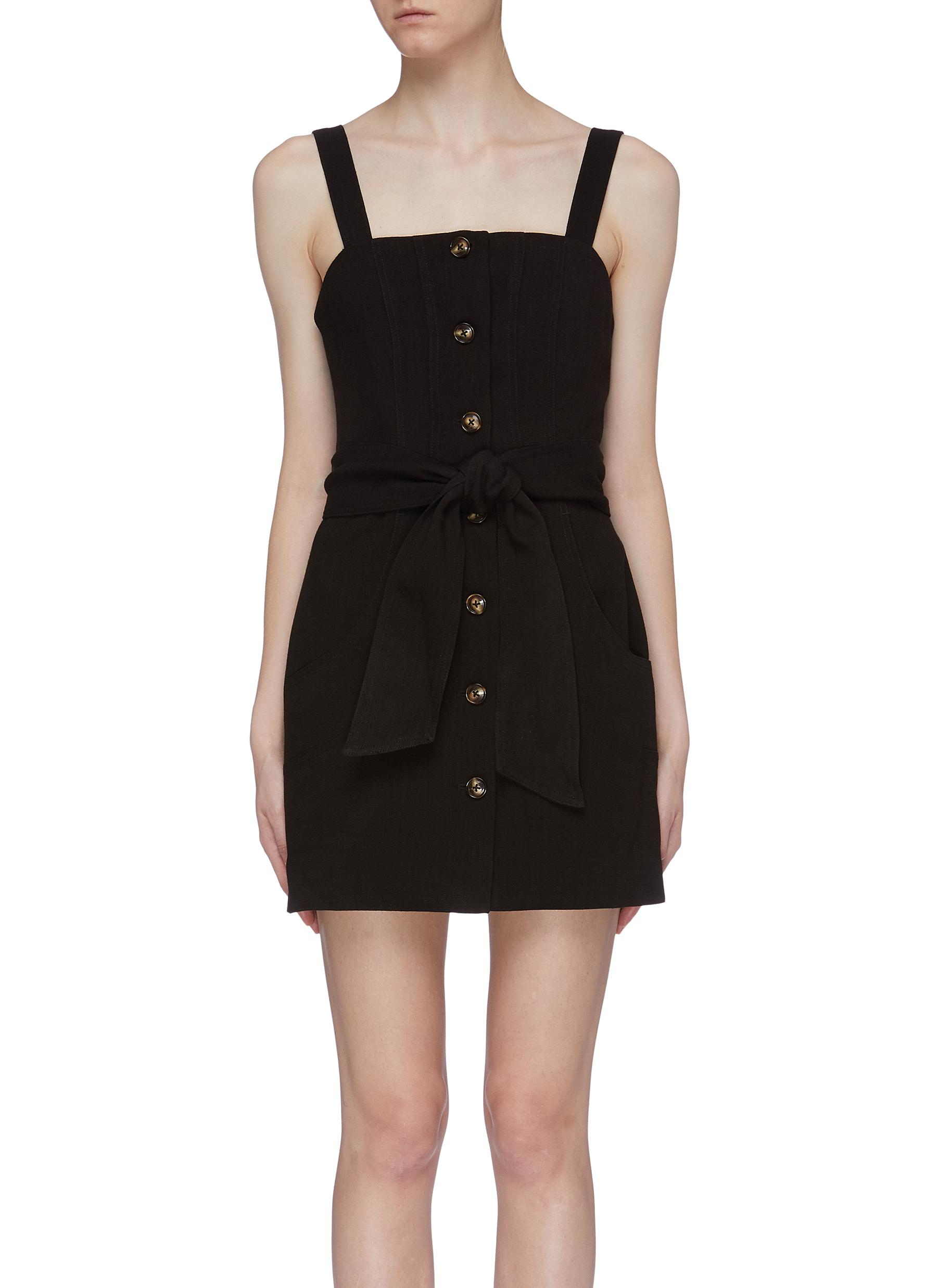 Collisions belted button front sleeveless dress by C/Meo Collective