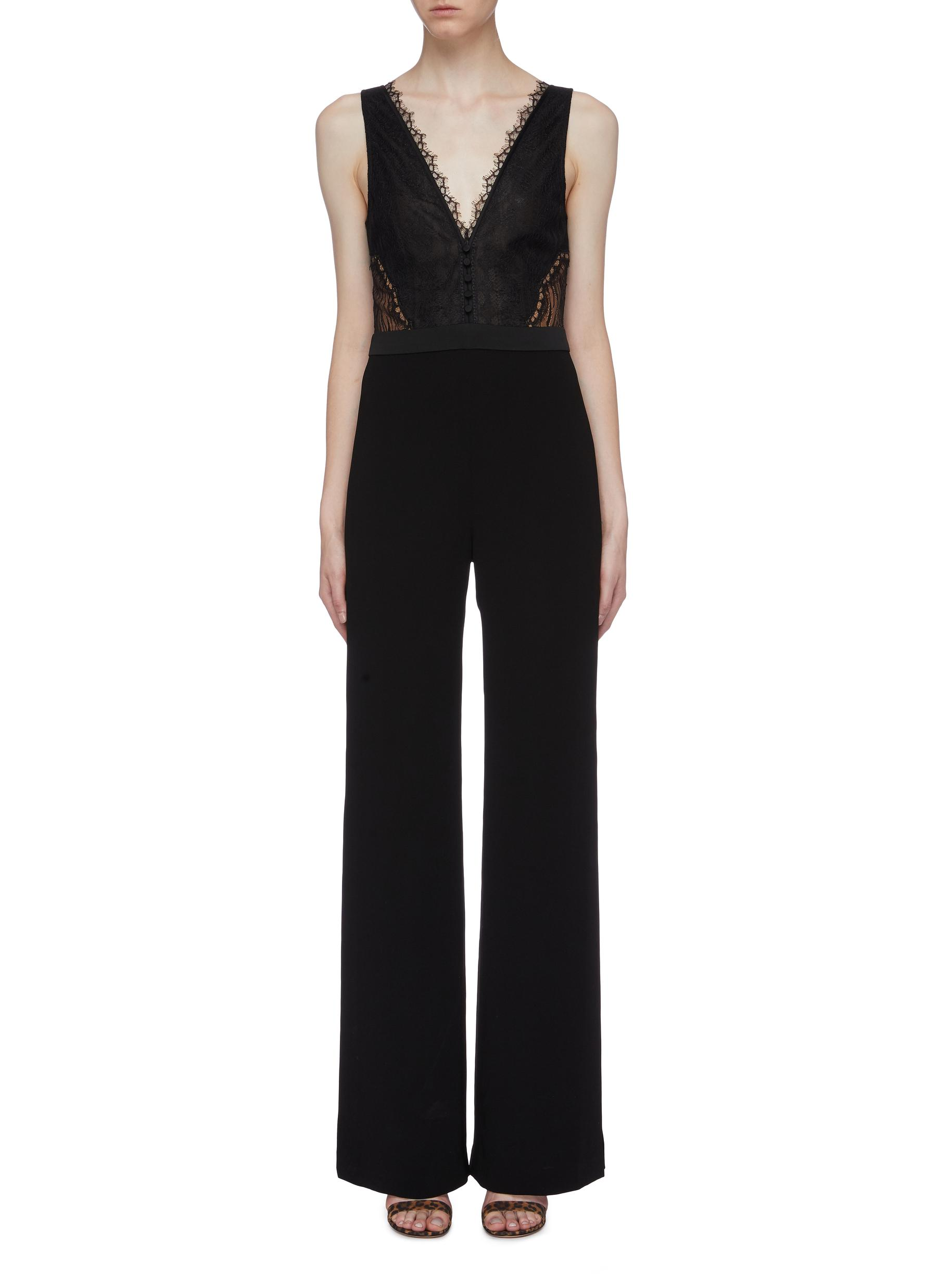 Lace panel sateen sleeveless jumpsuit by Jonathan Simkhai