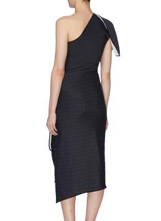 Back View - Click To Enlarge - MATICEVSKI - 'Aquatic' houndstooth check folded panel one shoulder dress