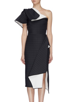 Main View - Click To Enlarge - MATICEVSKI - 'Aquatic' houndstooth check folded panel one shoulder dress