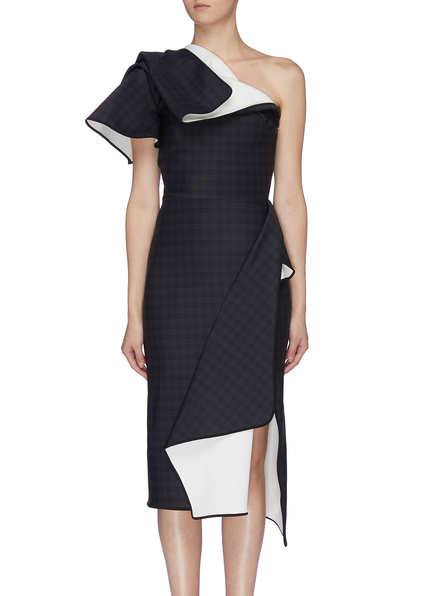 Aquatic houndstooth check folded panel one shoulder dress by Maticevski