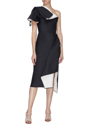Figure View - Click To Enlarge - MATICEVSKI - 'Aquatic' houndstooth check folded panel one shoulder dress