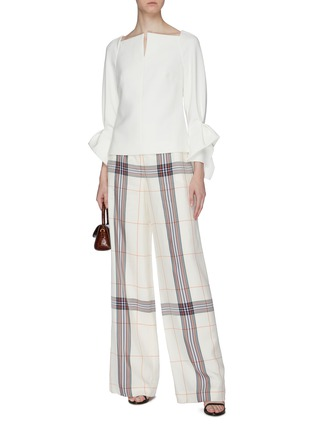 Figure View - Click To Enlarge - ROLAND MOURET - 'Tybee' flared cuff slit neck crepe top