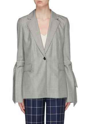 Main View - Click To Enlarge - ROLAND MOURET - 'Wollaston' sash tie split sleeve virgin wool-silk houndstooth blazer