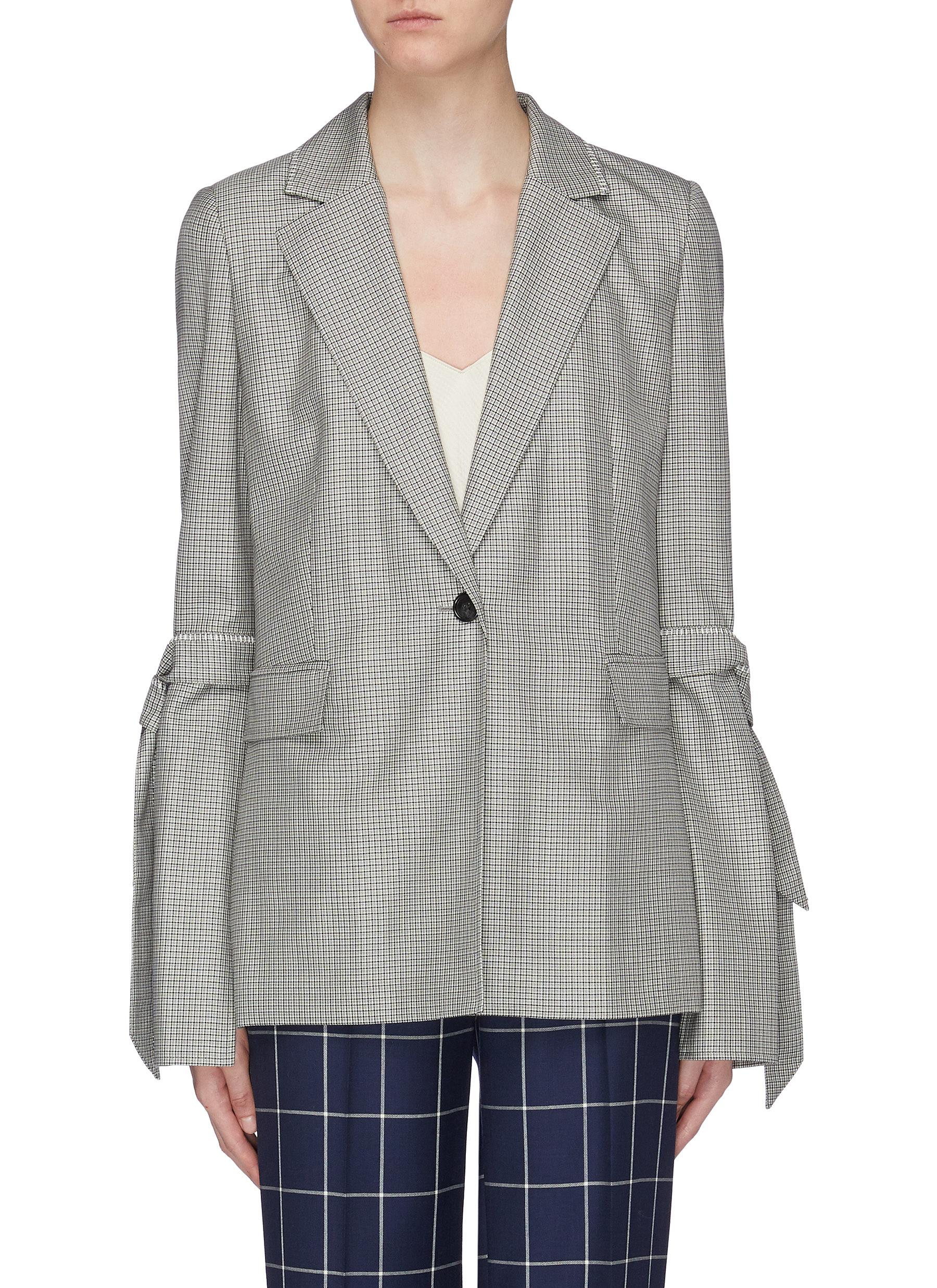 Wollaston sash tie split sleeve virgin wool-silk houndstooth blazer by Roland Mouret