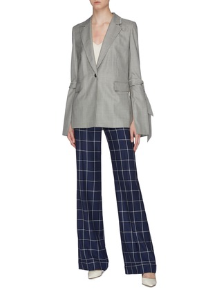 Figure View - Click To Enlarge - ROLAND MOURET - 'Wollaston' sash tie split sleeve virgin wool-silk houndstooth blazer