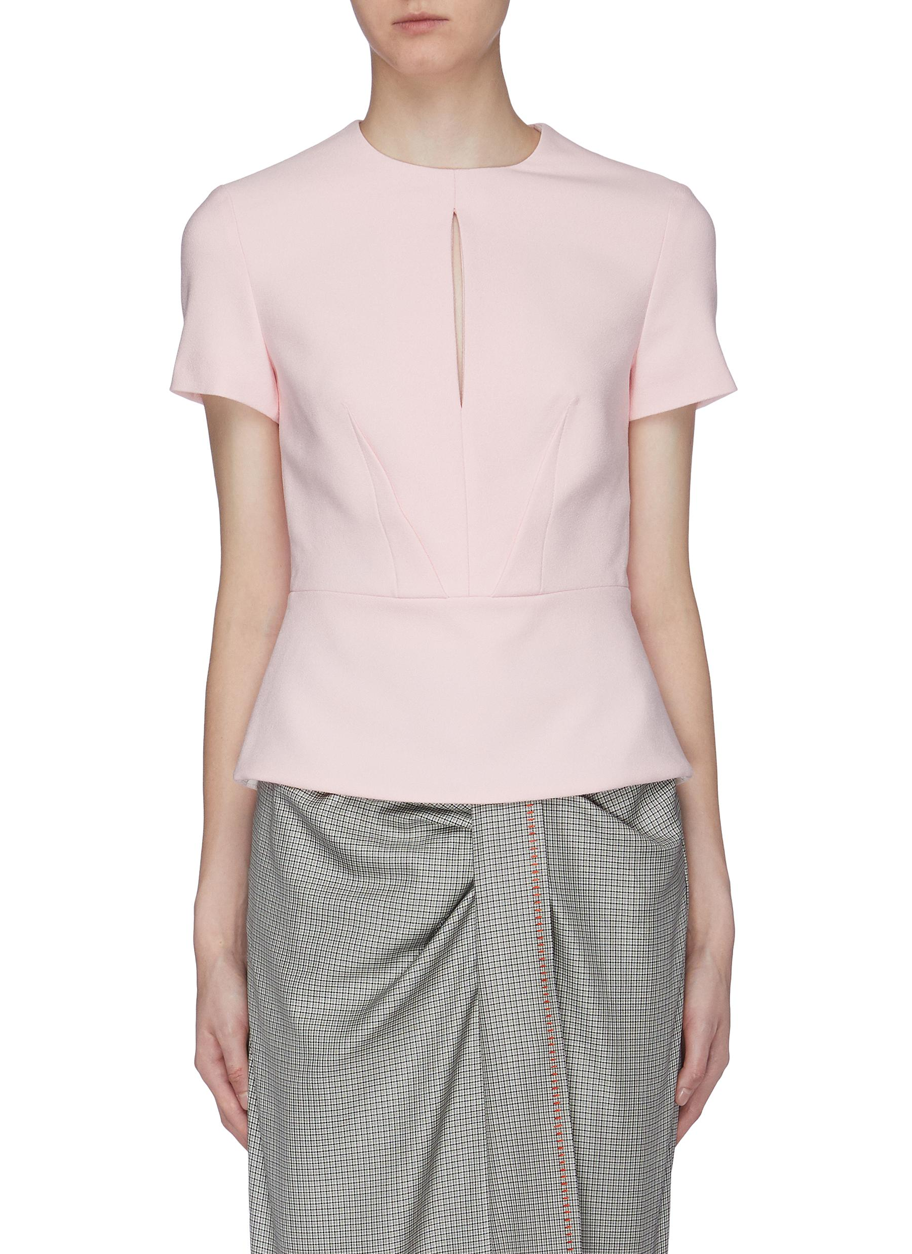 Redgate keyhole yoke crepe peplum top by Roland Mouret
