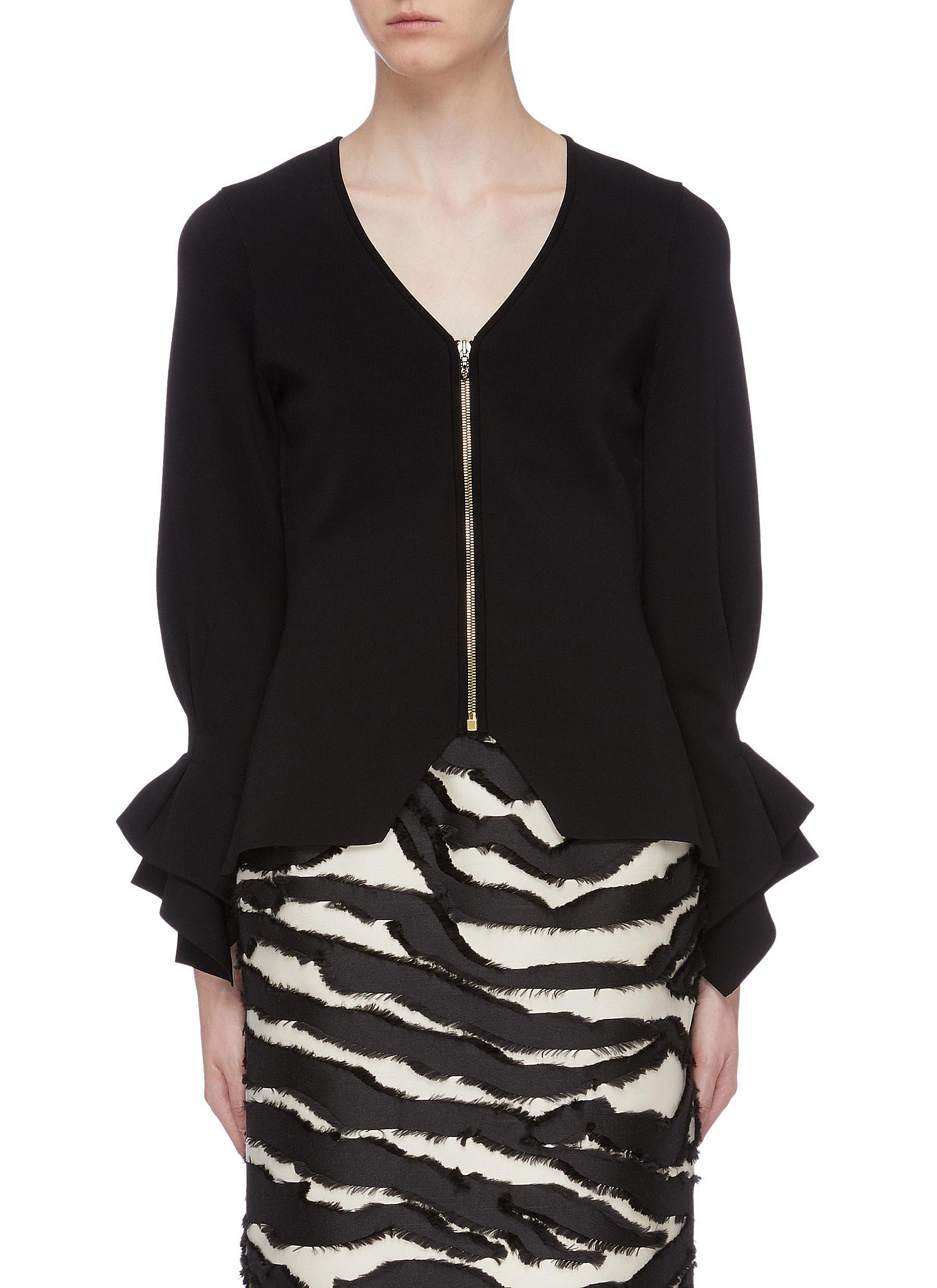 Positano tiered flared cuff knit jacket by Roland Mouret