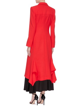Back View - Click To Enlarge - ROLAND MOURET - 'Hollywell' ruched tie waist wool crepe coat