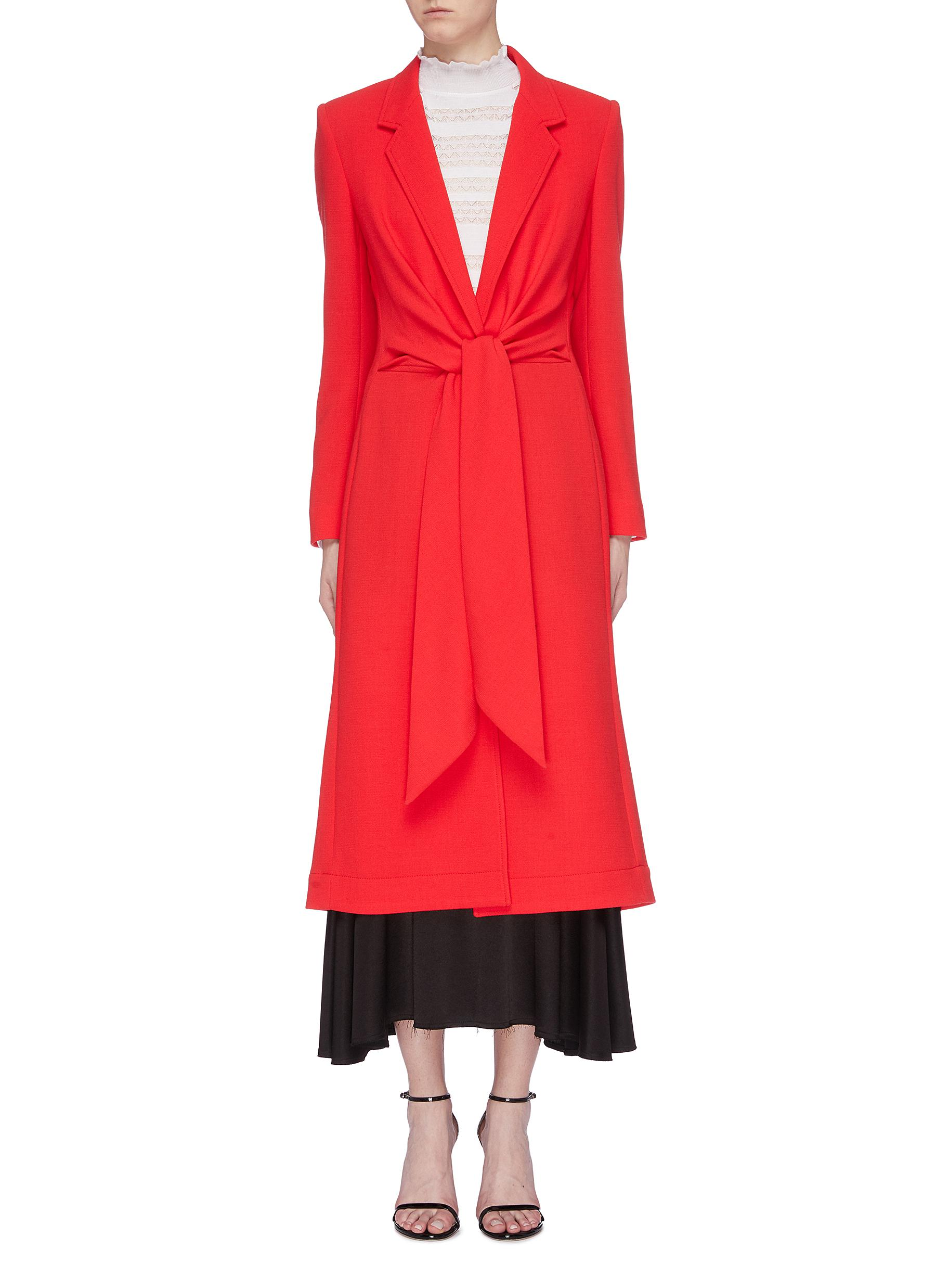 Hollywell ruched tie waist wool crepe coat by Roland Mouret