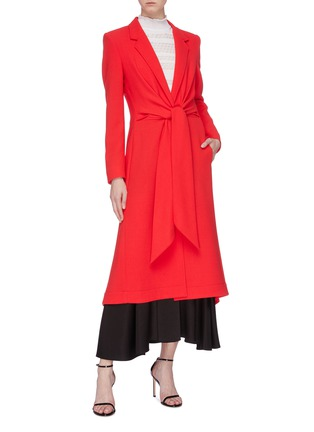 Figure View - Click To Enlarge - ROLAND MOURET - 'Hollywell' ruched tie waist wool crepe coat