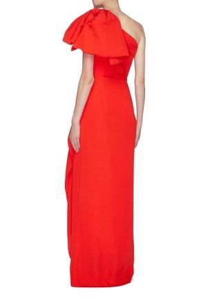 Back View - Click To Enlarge - ROLAND MOURET - 'Belhaven' drape bow silk jacquard one-shoulder gown