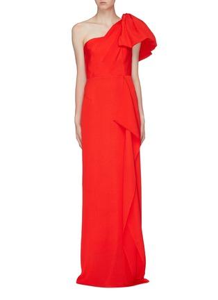 Main View - Click To Enlarge - ROLAND MOURET - 'Belhaven' drape bow silk jacquard one-shoulder gown