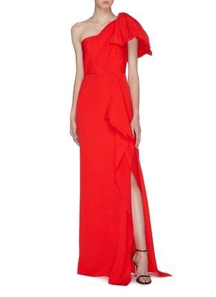 Figure View - Click To Enlarge - ROLAND MOURET - 'Belhaven' drape bow silk jacquard one-shoulder gown