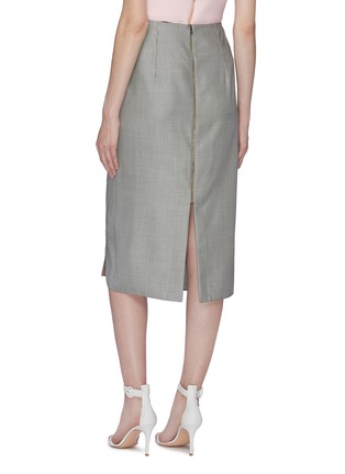 Back View - Click To Enlarge - ROLAND MOURET - 'Aura' gathered knot front check virgin wool-silk skirt