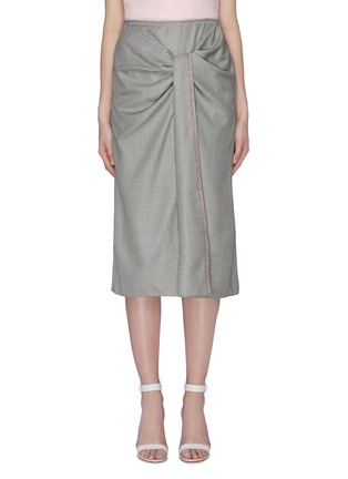 Main View - Click To Enlarge - ROLAND MOURET - 'Aura' gathered knot front check virgin wool-silk skirt