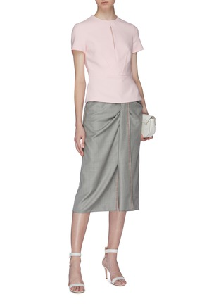 Figure View - Click To Enlarge - ROLAND MOURET - 'Aura' gathered knot front check virgin wool-silk skirt