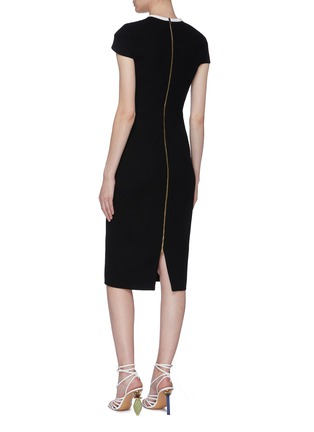 Back View - Click To Enlarge - ROLAND MOURET - 'Talland' cutout shoulder wool crepe dress