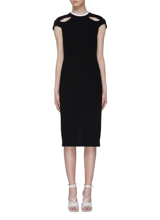 Main View - Click To Enlarge - ROLAND MOURET - 'Talland' cutout shoulder wool crepe dress