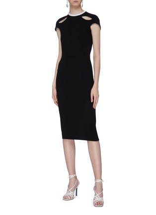Figure View - Click To Enlarge - ROLAND MOURET - 'Talland' cutout shoulder wool crepe dress