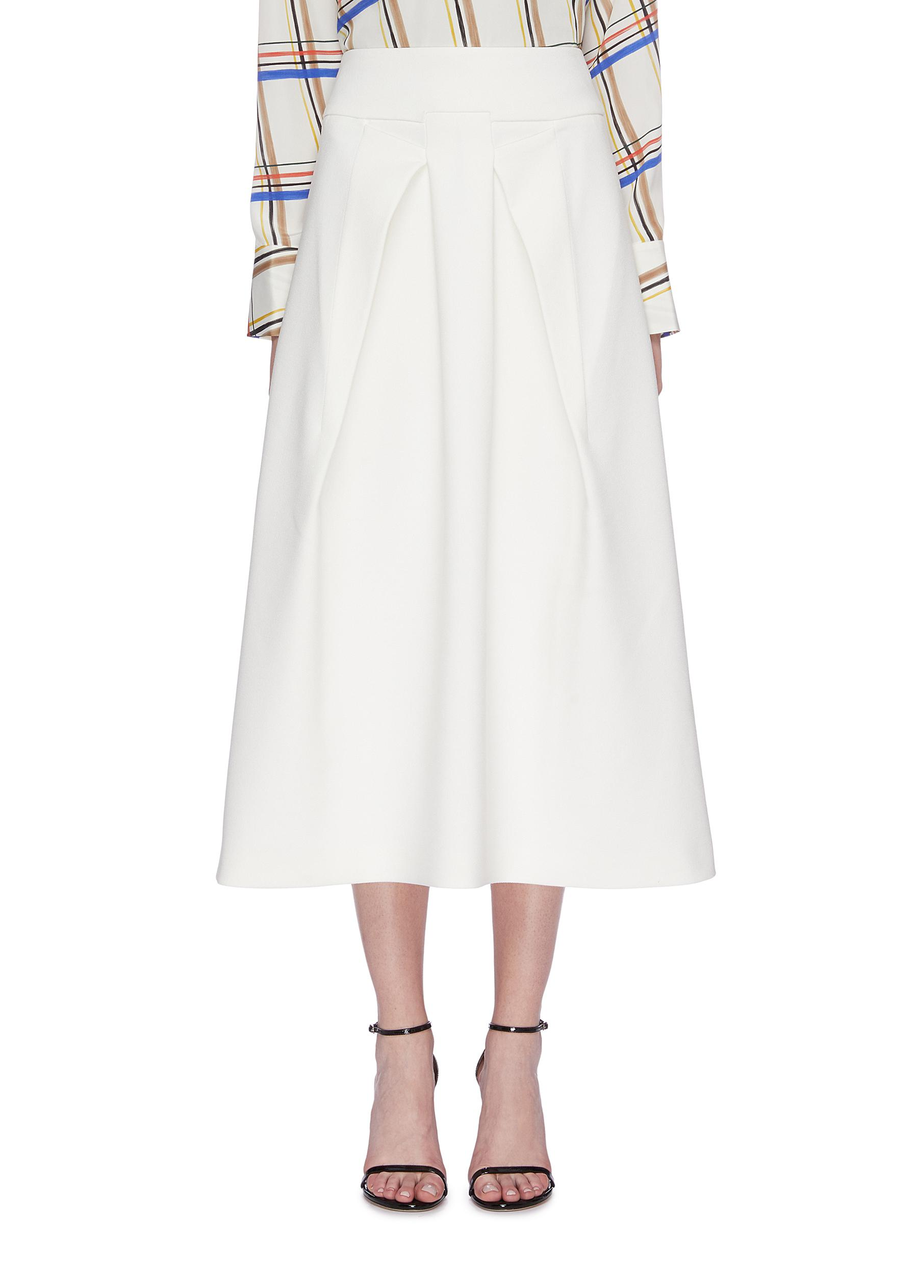 Holmes box pleated crepe skirt by Roland Mouret