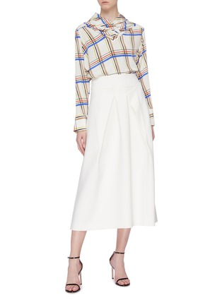 Figure View - Click To Enlarge - ROLAND MOURET - 'Holmes' box pleated crepe skirt