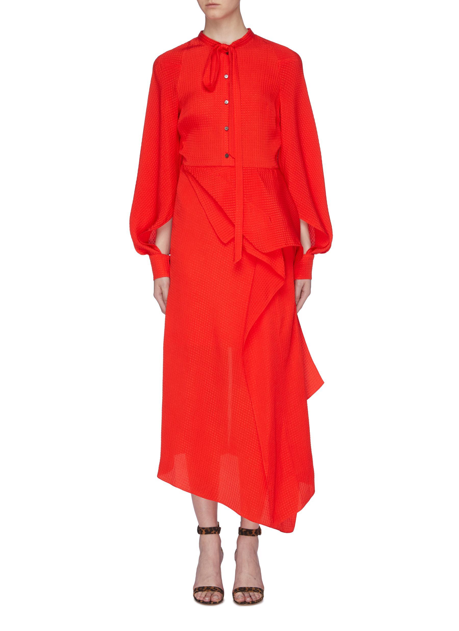 Bocana asymmetric drape silk jacquard shirt dress by Roland Mouret