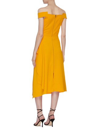 Back View - Click To Enlarge - ROLAND MOURET - 'Arch' asymmetric folded panel off-shoulder midi dress