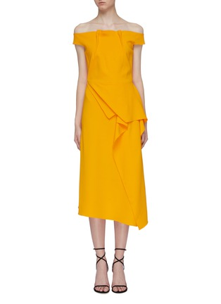 Main View - Click To Enlarge - ROLAND MOURET - 'Arch' asymmetric folded panel off-shoulder midi dress
