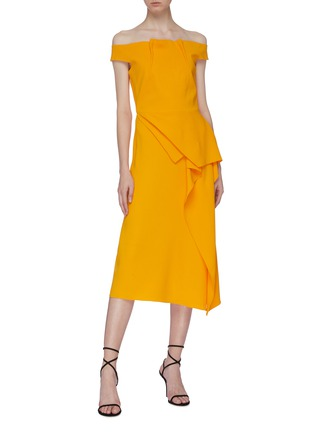 Figure View - Click To Enlarge - ROLAND MOURET - 'Arch' asymmetric folded panel off-shoulder midi dress