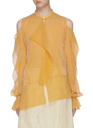 Main View - Click To Enlarge - ROLAND MOURET - 'Holcombe' ruffle cutout sleeve stripe chiffon top