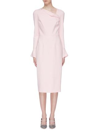 Main View - Click To Enlarge - ROLAND MOURET - 'Liman' asymmetric cowl neck crepe dress
