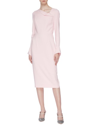 Figure View - Click To Enlarge - ROLAND MOURET - 'Liman' asymmetric cowl neck crepe dress