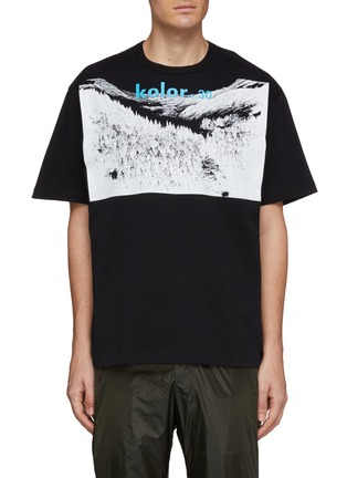 Main View - Click To Enlarge - KOLOR - Logo forest graphic print boxy T-shirt