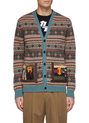 Main View - Click To Enlarge - KOLOR - Contrast patch pocket Fair Isle jacquard cardigan
