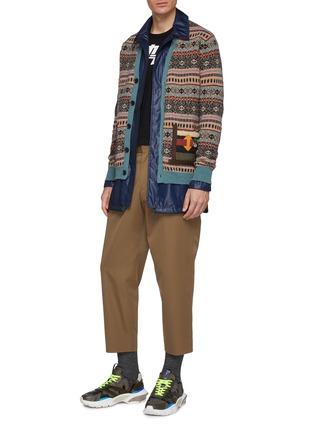 Figure View - Click To Enlarge - KOLOR - Contrast patch pocket Fair Isle jacquard cardigan