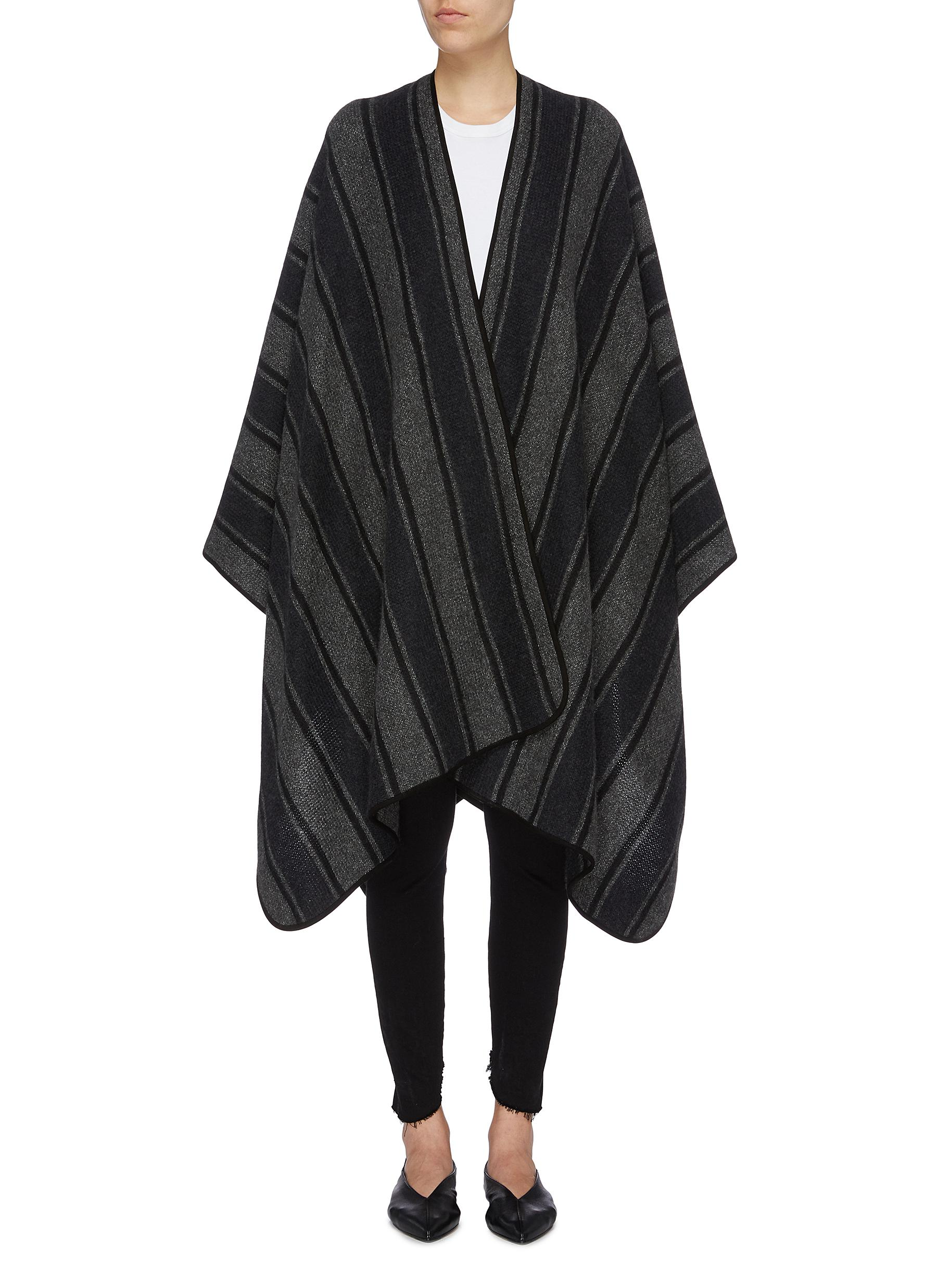 Merlyn stripe cashmere-silk knit cape by The Row