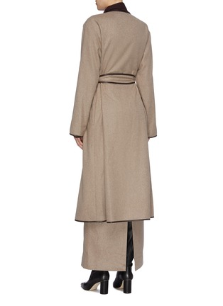 Back View - Click To Enlarge - THE ROW - 'Helga' belted contrast border cashmere coat
