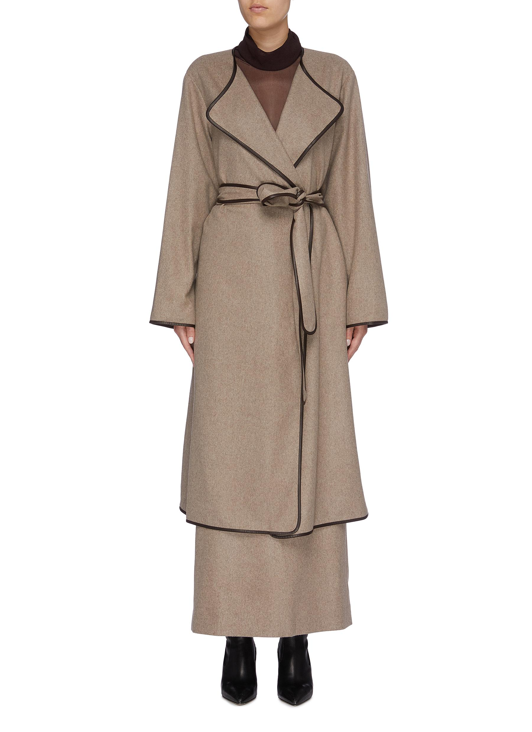 Helga belted contrast border cashmere coat by The Row