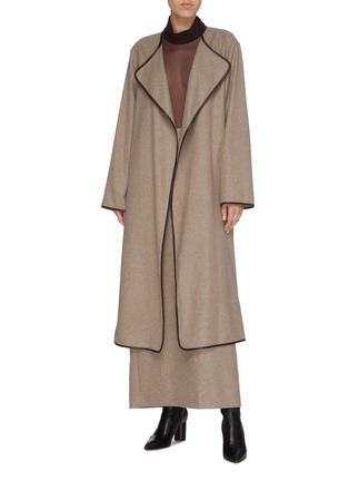 Figure View - Click To Enlarge - THE ROW - 'Helga' belted contrast border cashmere coat