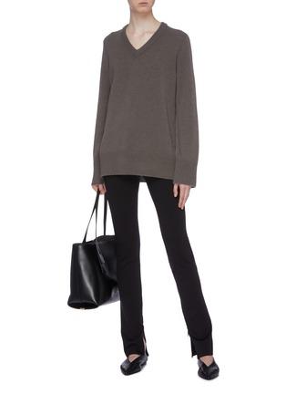Figure View - Click To Enlarge - THE ROW - 'Corza' zip cuff scuba jersey leggings