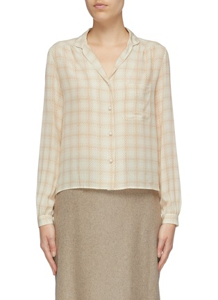 Main View - Click To Enlarge - THE ROW - 'Griffin' squiggle check print silk shirt