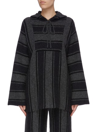 Main View - Click To Enlarge - THE ROW - 'Lina' oversized stripe cashmere-silk knit oversized hooded top
