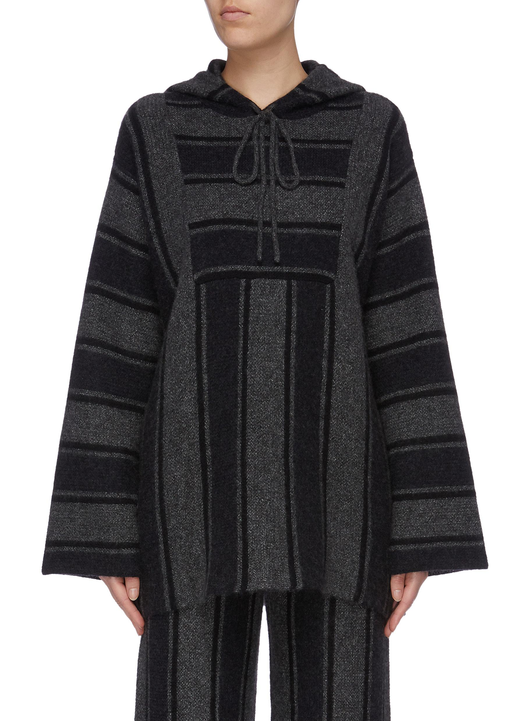 Lina oversized stripe cashmere-silk knit oversized hooded top by The Row