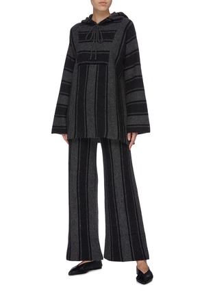 Figure View - Click To Enlarge - THE ROW - 'Lina' oversized stripe cashmere-silk knit oversized hooded top