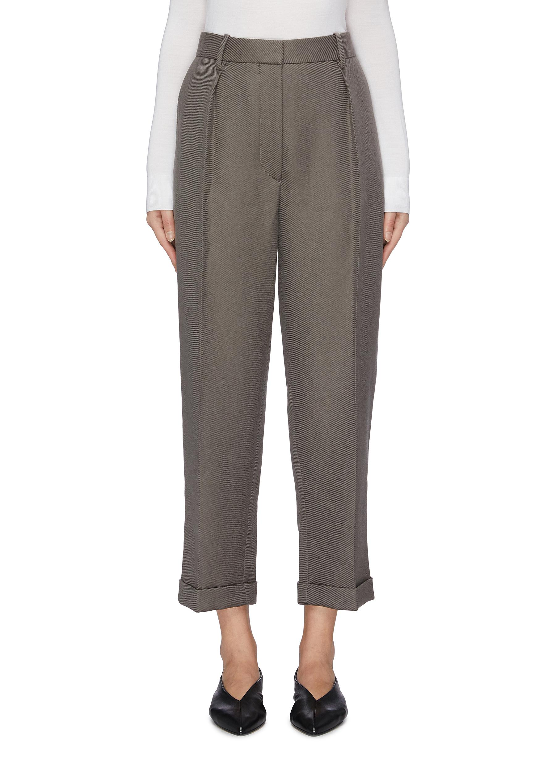 Milos rolled cuff pleated virgin wool pants by The Row
